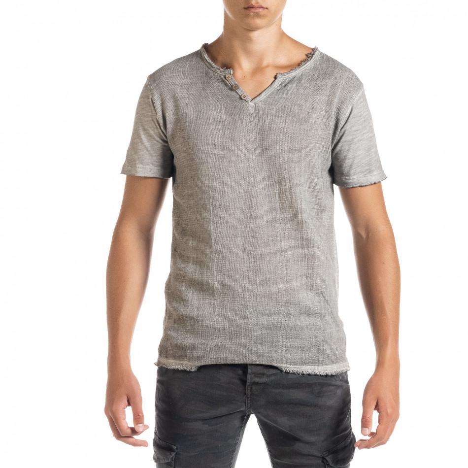 Мъжка тениска от памук и лен в сиво it010720-27