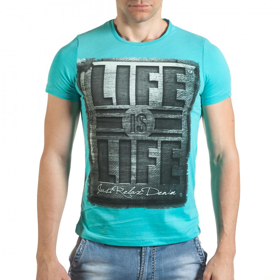 Мъжка синя тениска с голям надпис il140416-43