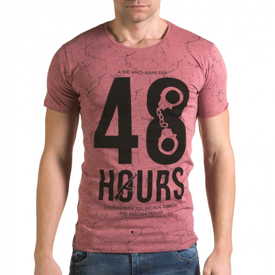 Мъжка розова тениска 48 Hours il120216-6