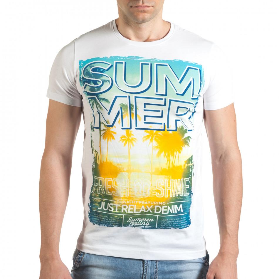 Бяла мъжка тениска с лятна картинка il140416-49