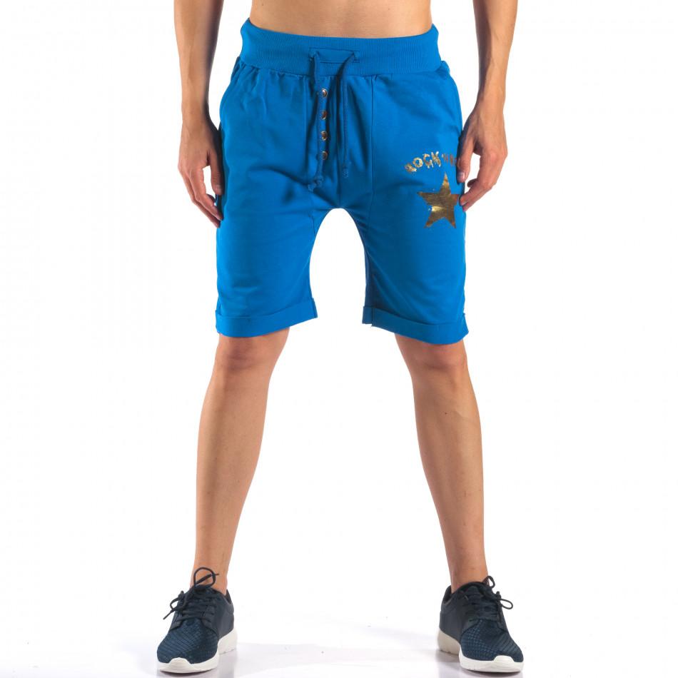 Мъжки сини шорти със златна звезда it160616-15