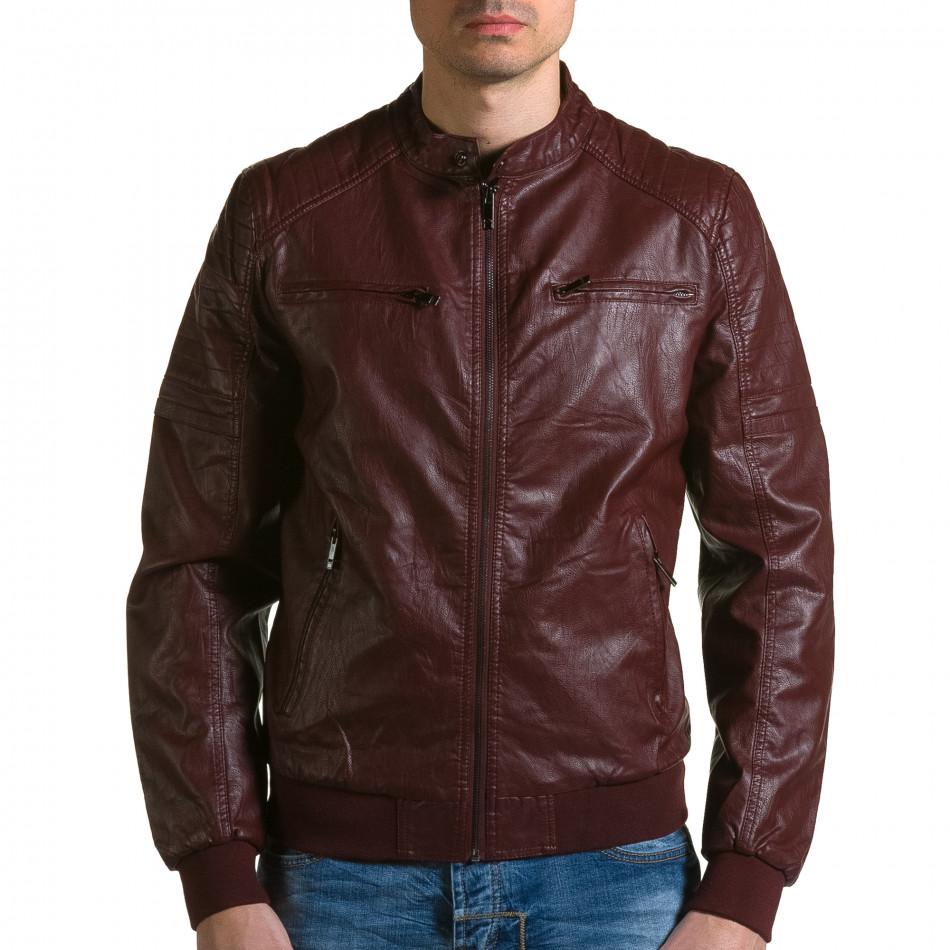 Мъжко червено кожено яке с джобове на гърдите ca190116-35