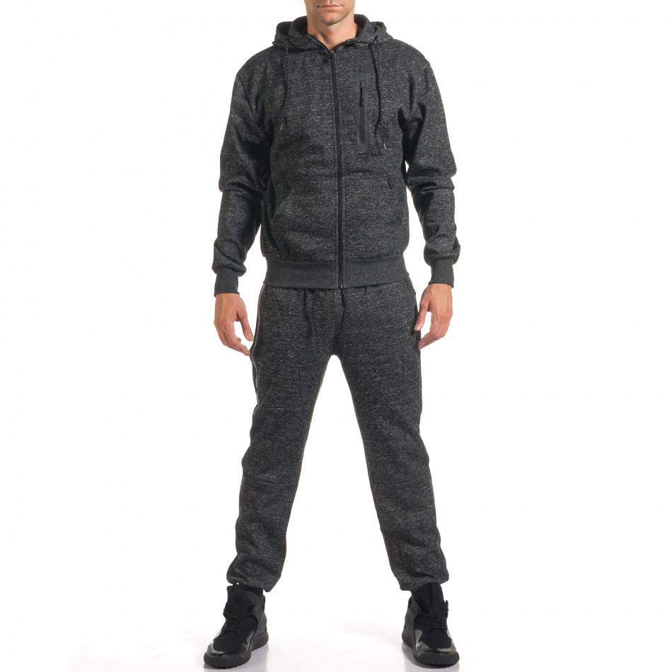 Мъжки тъмно сив спортен комплект с ципове it160916-61
