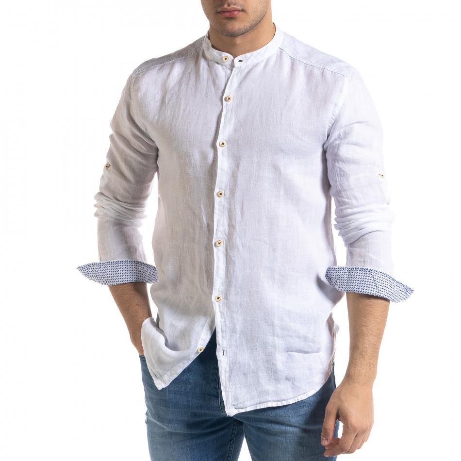 Мъжка бяла риза от лен с яка столче tr110320-90