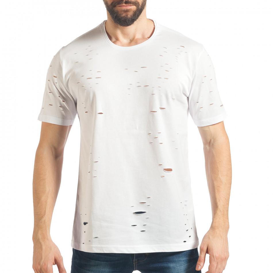 Мъжка бяла тениска с декоративни скъсвания tsf020218-30
