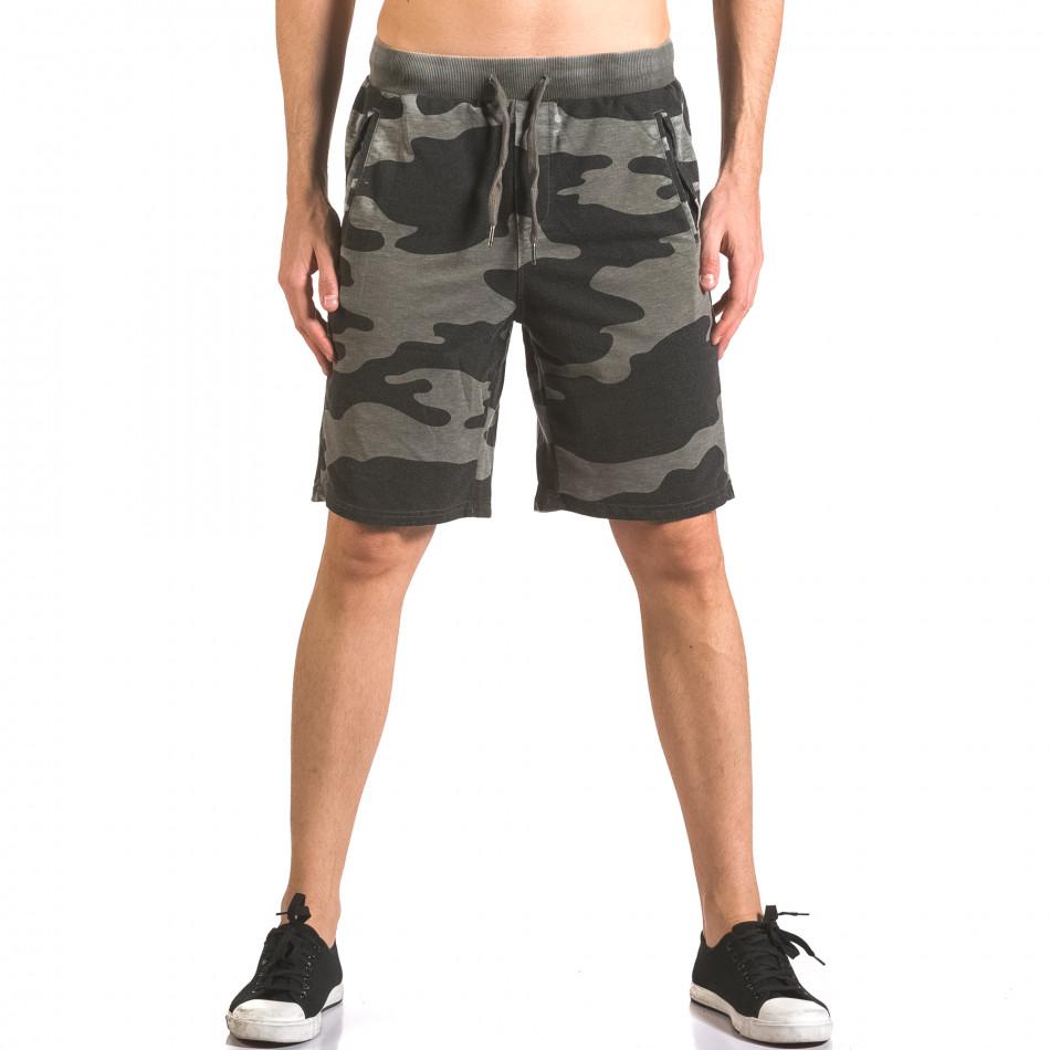 Мъжки къси панталони тип шорти зелен камуфлаж ca050416-46