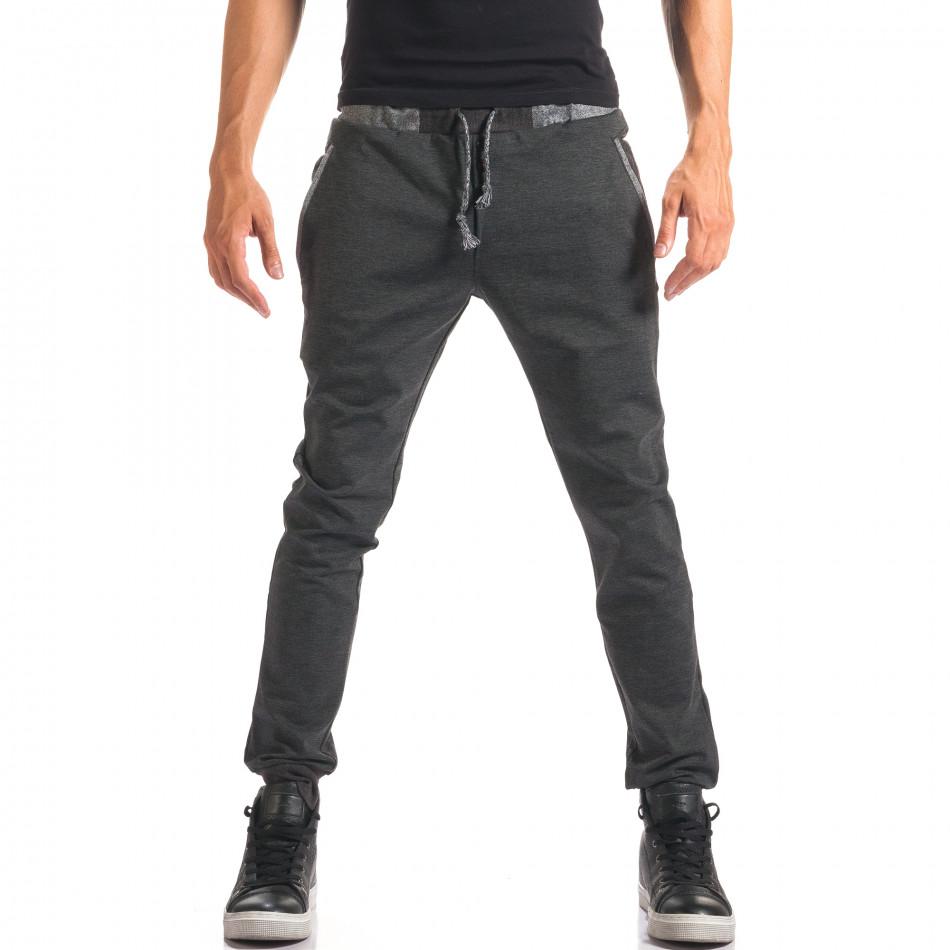 Мъжки тъмно сив спортен панталон с копчета it150816-20