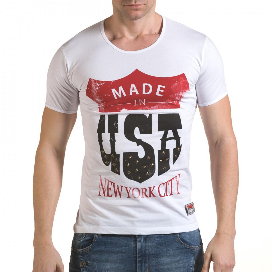 Мъжка бяла тениска Made in USA il170216-81