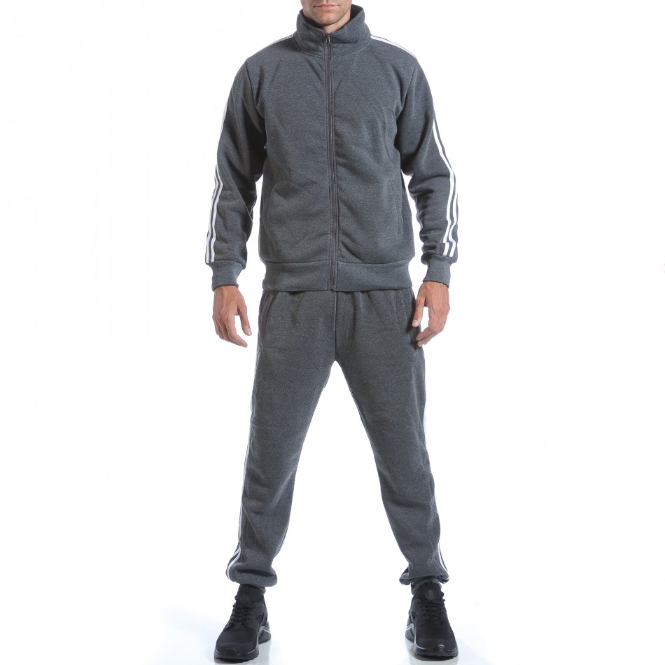 Мъжки тъмно сив спортен комплект с бели ленти it160817-73