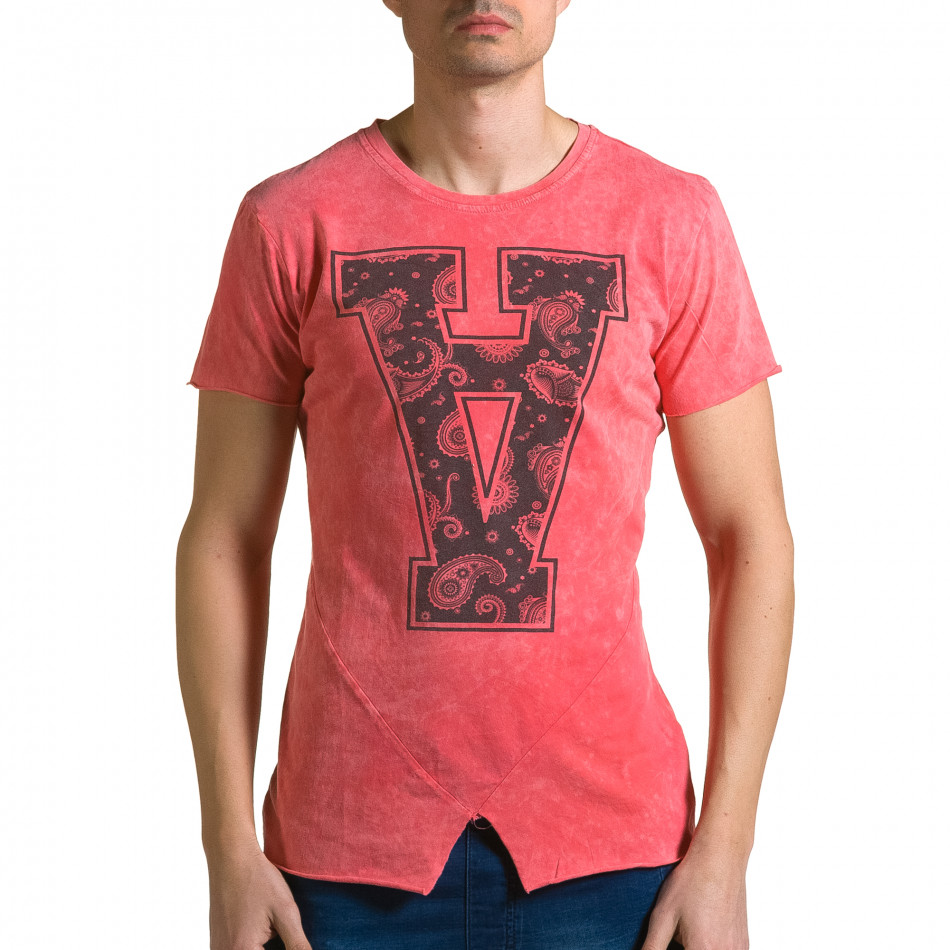 Мъжка червена асиметрична тениска с обърната буква А ca190116-47