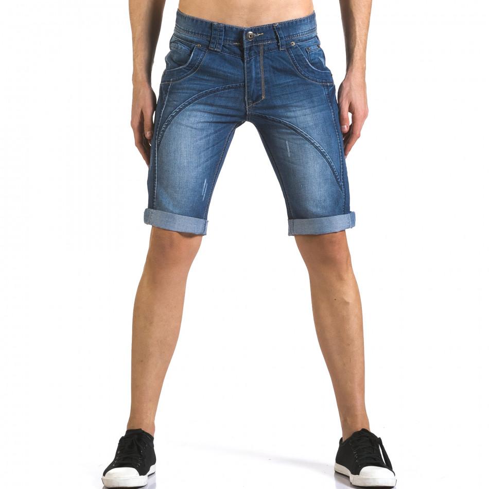 Мъжки къси дънки с допълнителни шевове it110316-70