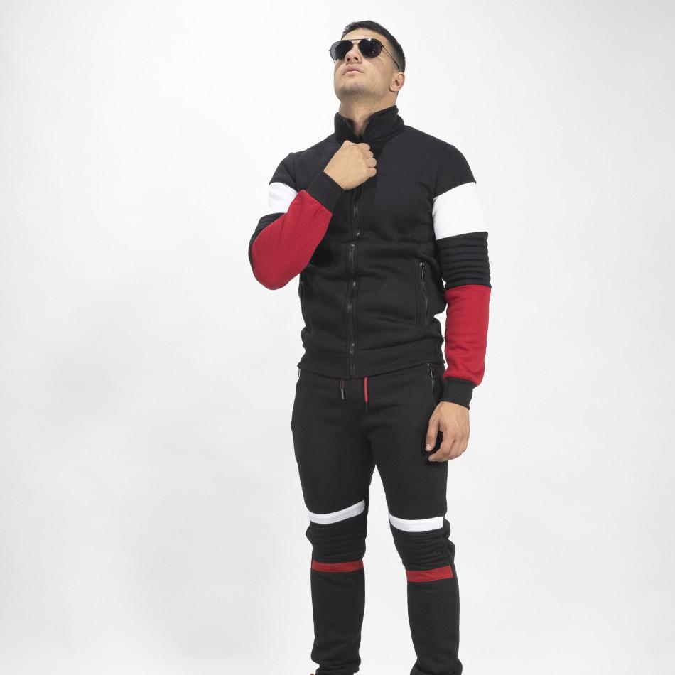 Черен ватиран мъжки спортен комплект Biker style it071119-50
