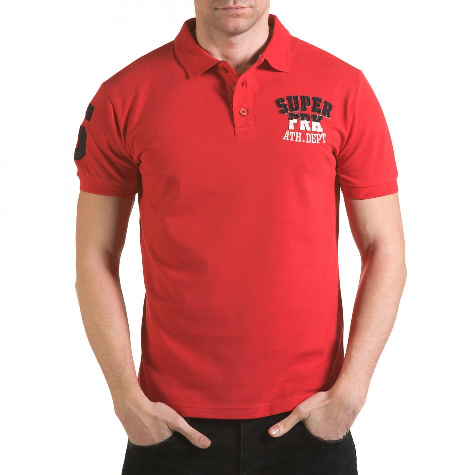 Мъжка червена тениска с яка с релефен надпис Super FRK il170216-24