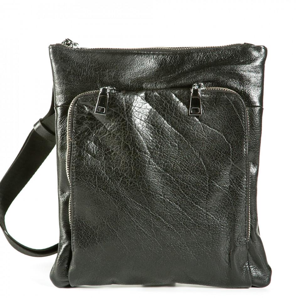 Чанта през рамо с външен джоб 1236-black