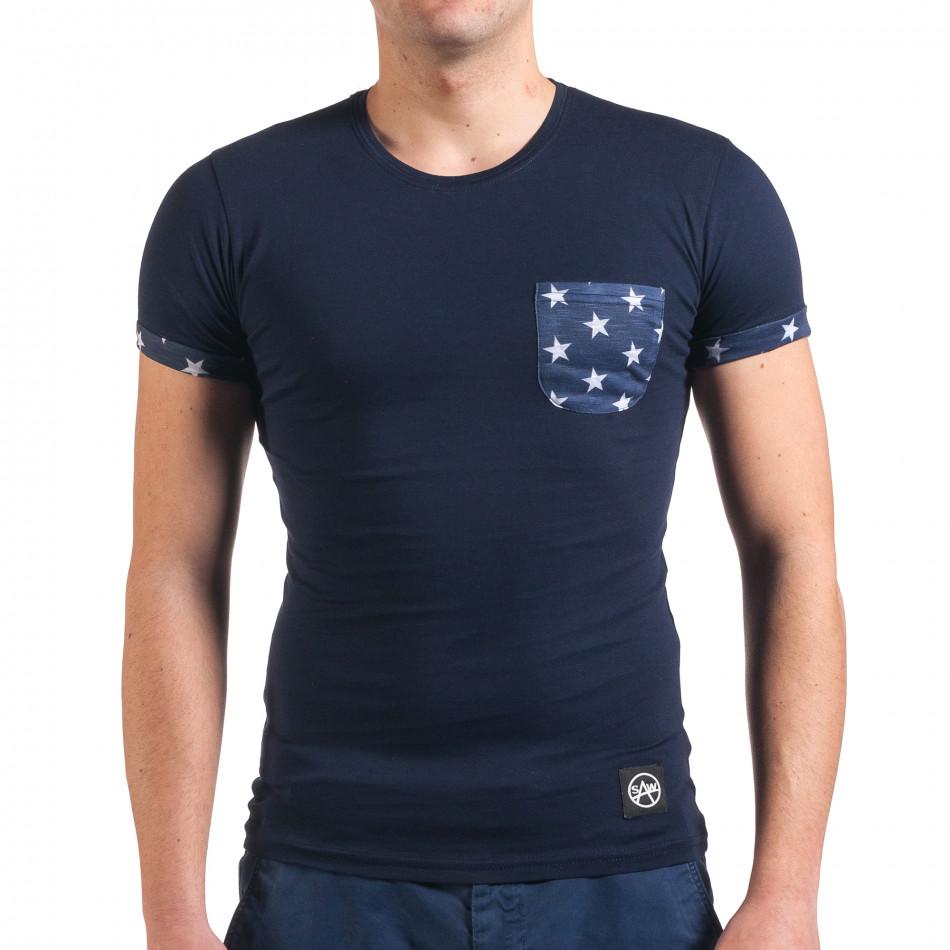 Мъжка синя тениска с джоб на гърдите със звезди il010416-2