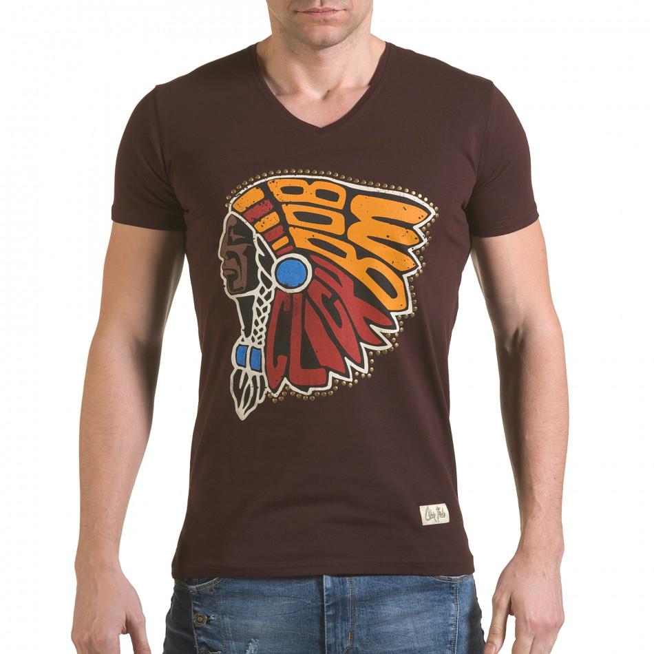 Мъжка кафява тениска с принт индианец il170216-89