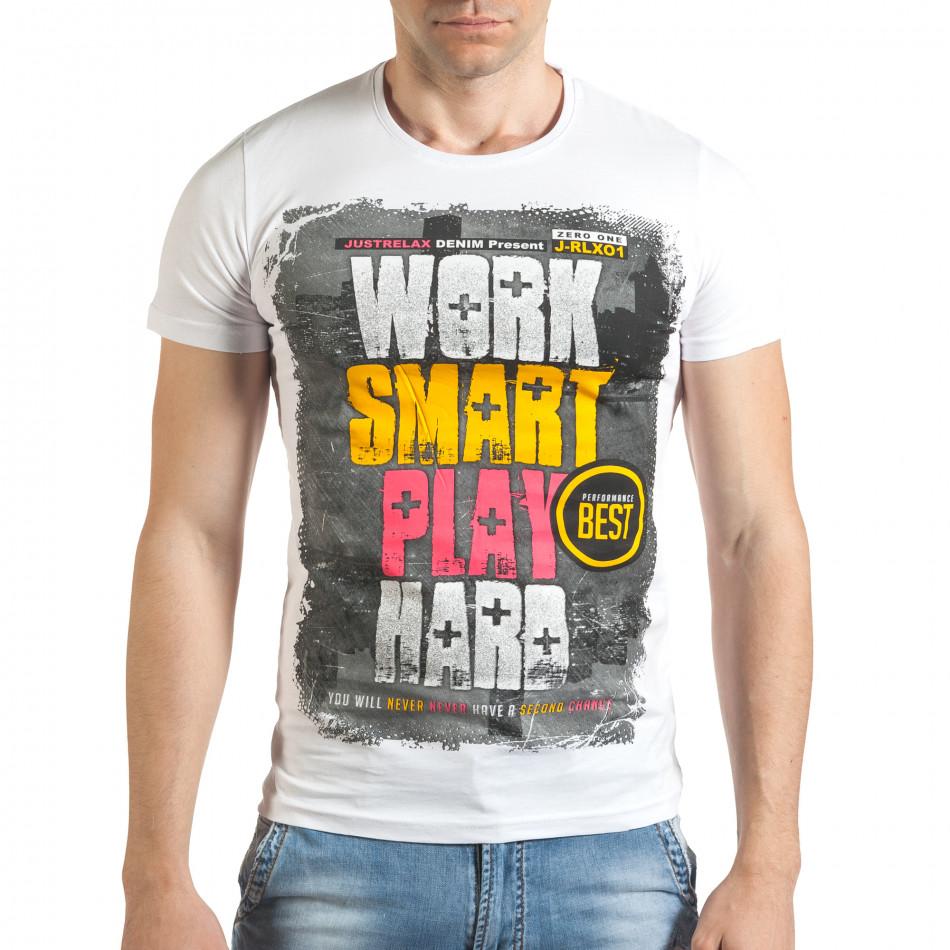 Мъжка бяла тениска с надпис отпред il140416-36