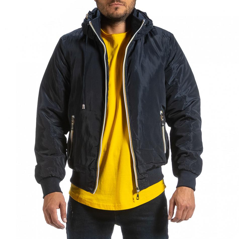 Мъжко синьо яке с прибираща се качулка it070921-29