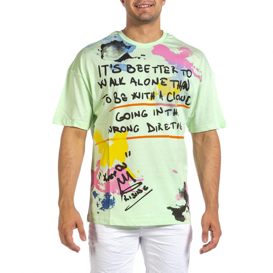 Зелена мъжка тениска с колоритен принт it240621-11