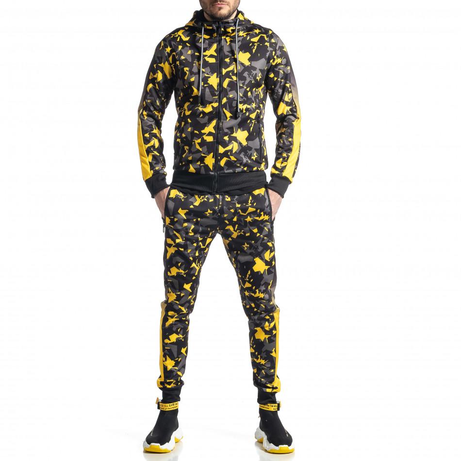 Мъжки анцуг черно-жълт All over print it010221-52