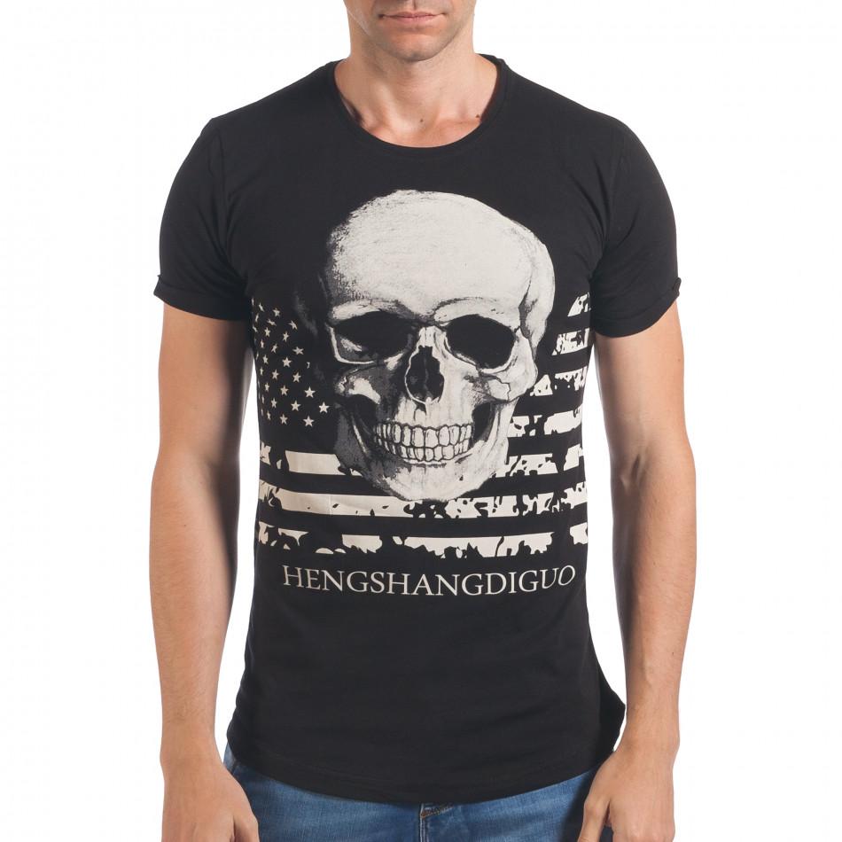 Мъжка черна тениска с череп и знаме il060616-88