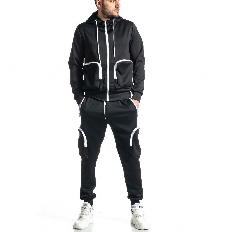 Мъжки черен спортен комплект Cagro style it010221-57