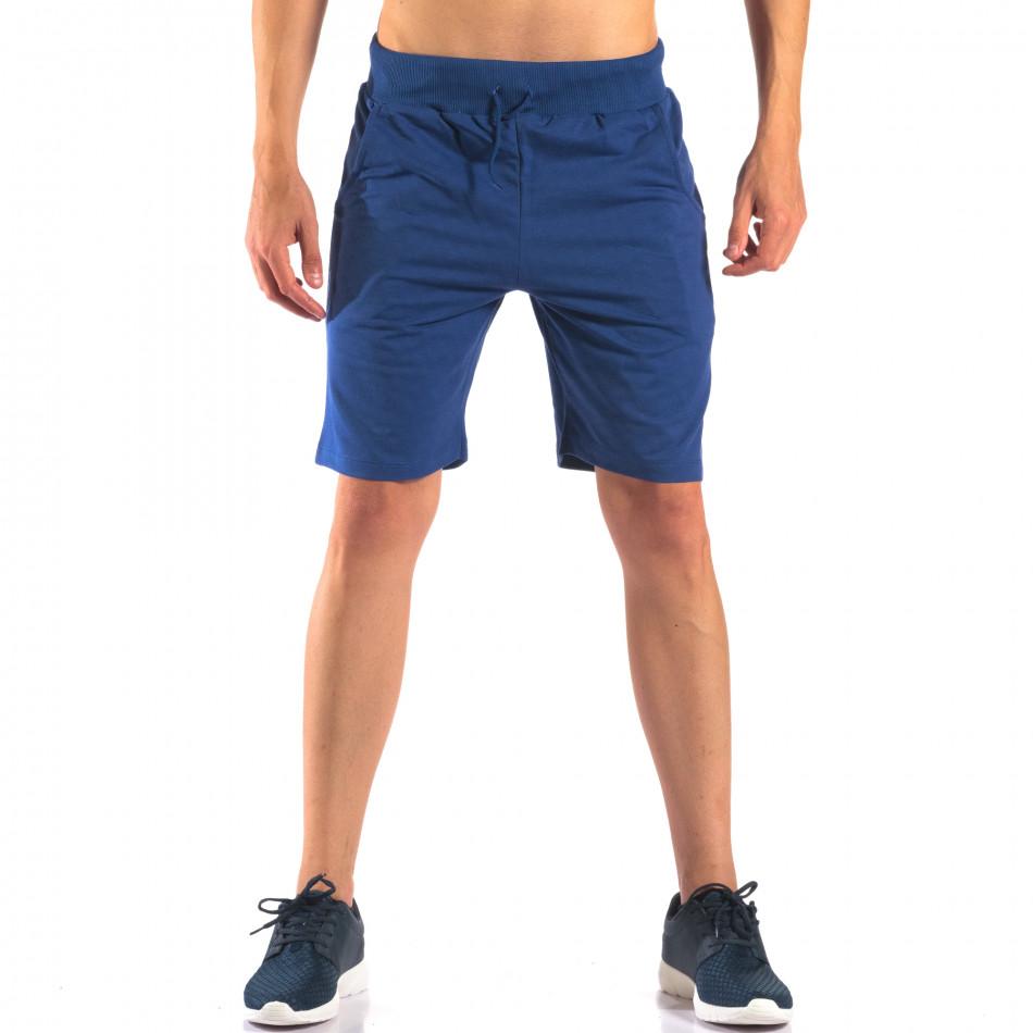 Мъжки сини шорти за спорт изчистен модел it160616-7