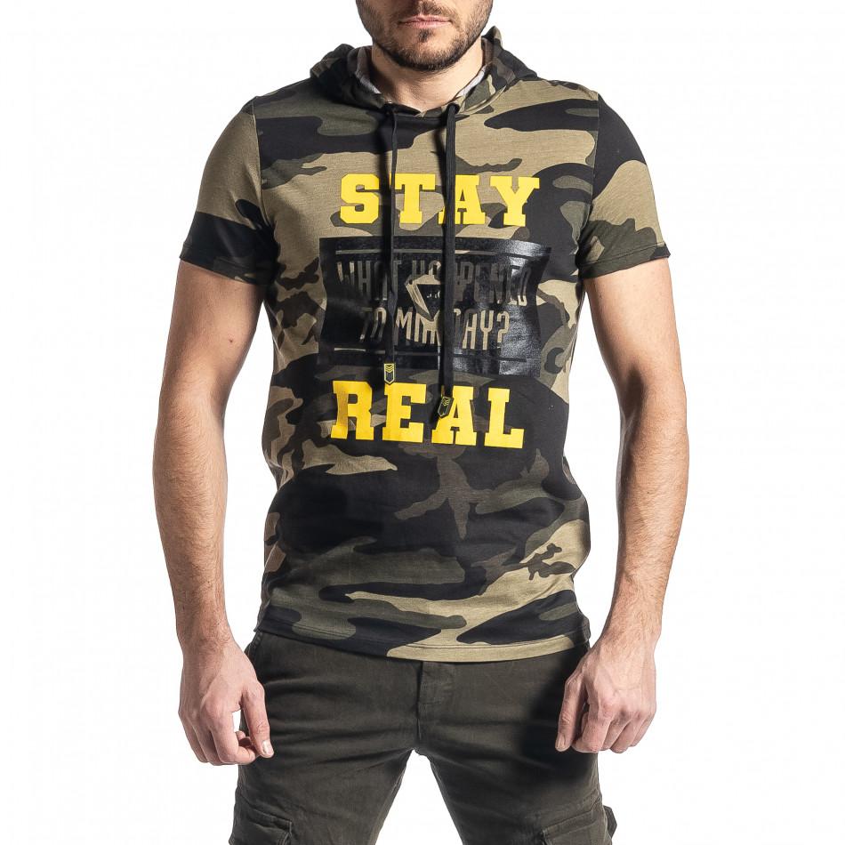 Мъжка тениска с качулка зелен камуфлаж tr010221-26
