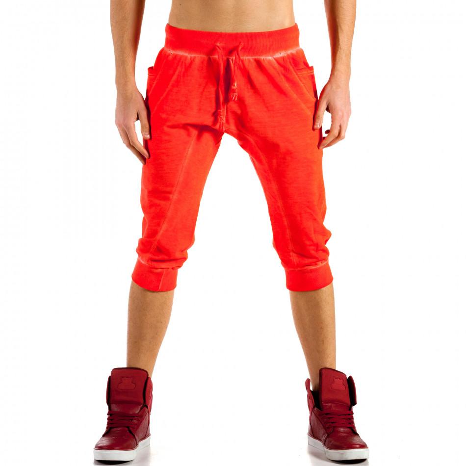 Мъжки червени къси панталони с изтрит ефект ca100514-13