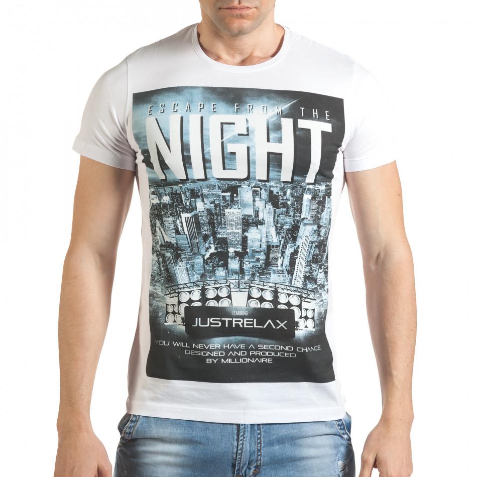 Бяла мъжка тениска с голяма щампа отпред il140416-39