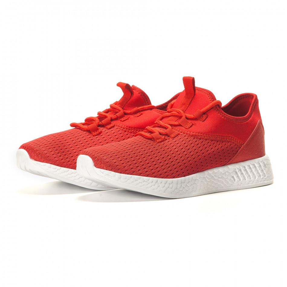 Мъжки червени маратонки от лека материя it110517-8