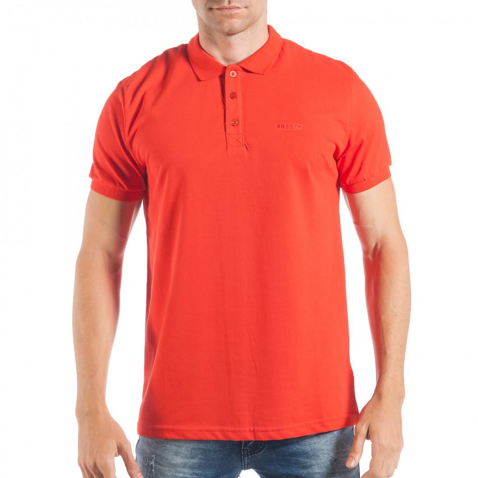 Мъжка тениска с яка basic модел в червено tsf250518-33