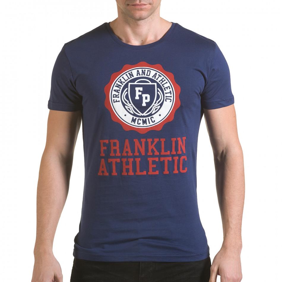Мъжка синя тениска с кръгъл принт отпред il170216-6
