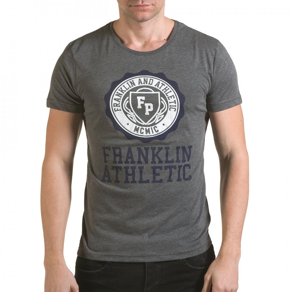 Мъжка сива тениска с кръгъл принт отпред il170216-7