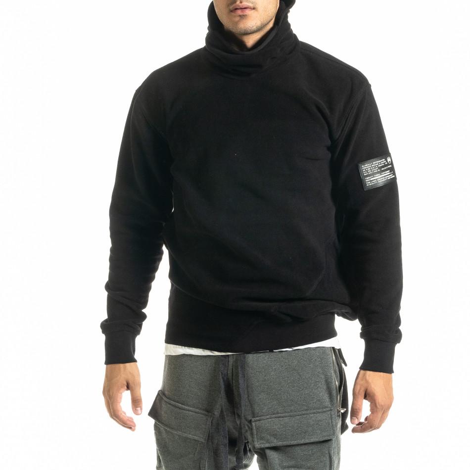 Мъжки черен суичър от полар с качулка tr020920-25