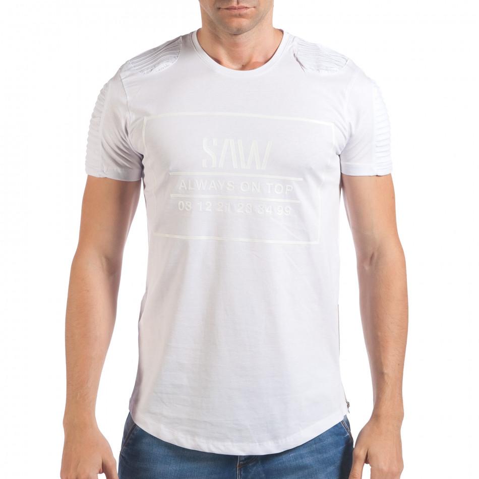 Мъжка бяла тениска с релефен надпис и странични ципове il060616-24