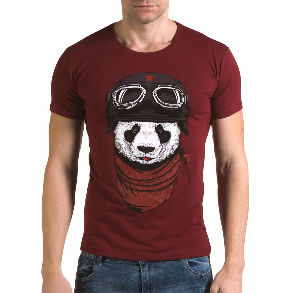 Мъжка червена тениска с панда il120216-7
