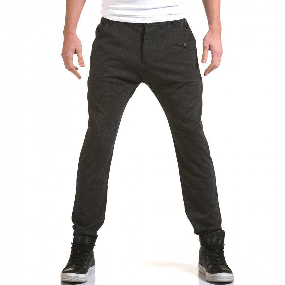 Мъжки тъмно сив панталон с малък детайл отпред it090216-3