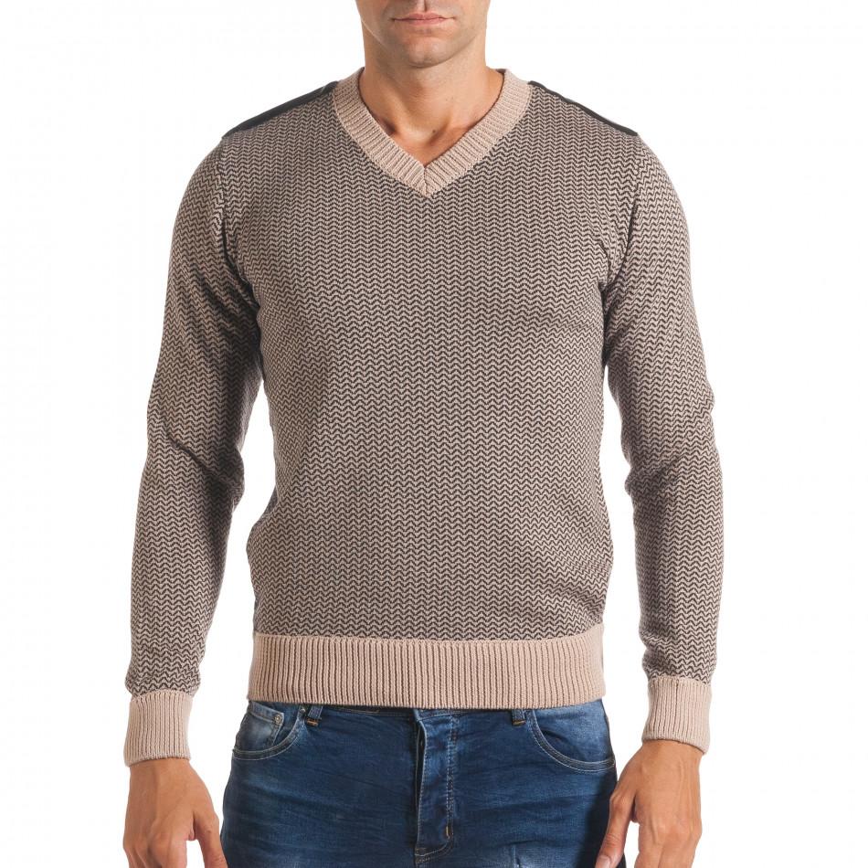 Мъжки бежов пуловер с фигурална плетка it170816-8