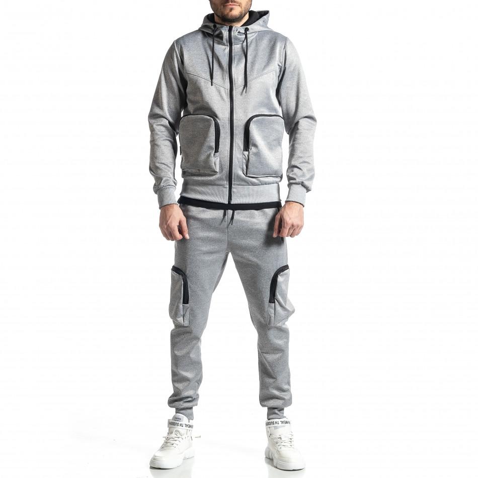Мъжки сив спортен комплект Cagro style it010221-70