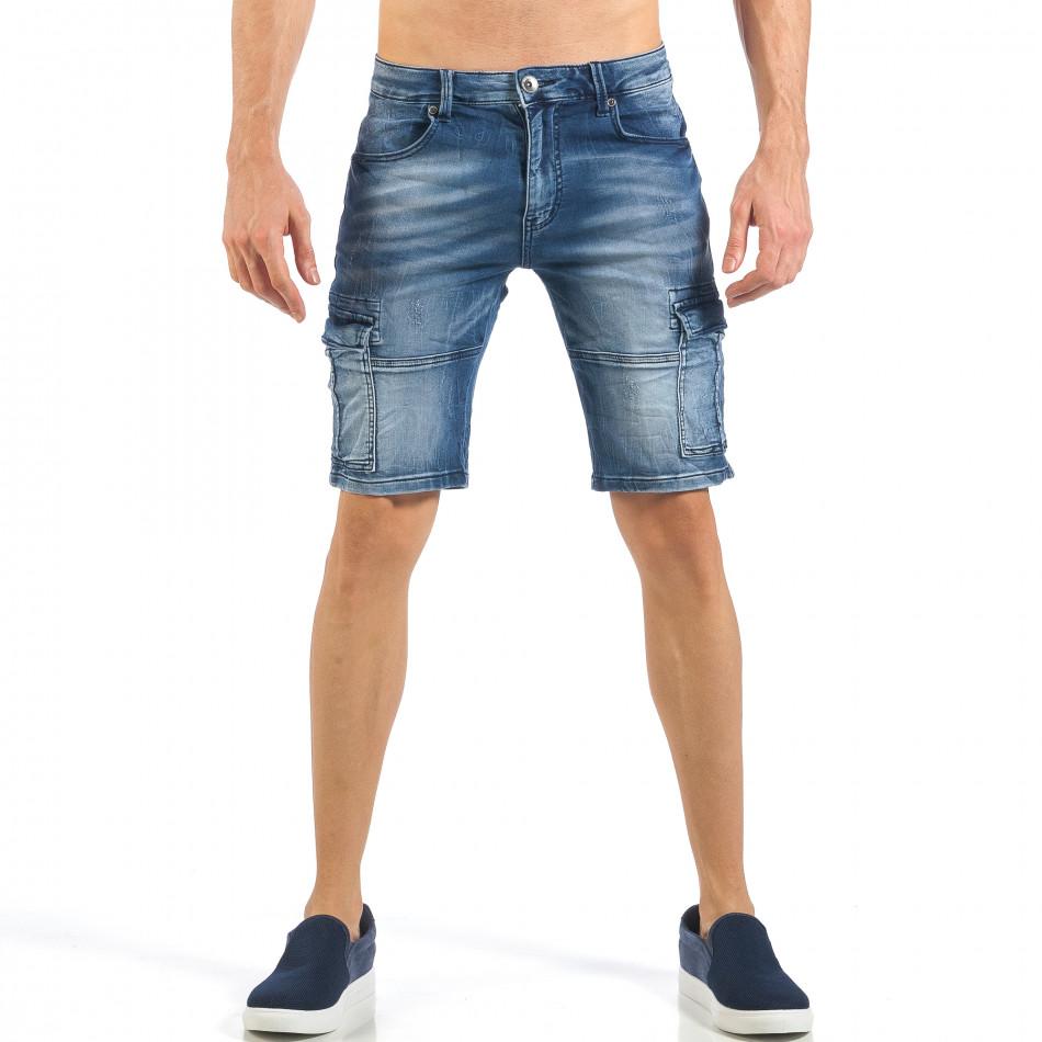 Мъжки къси карго дънки с кадифен ефект в синьо it260318-119