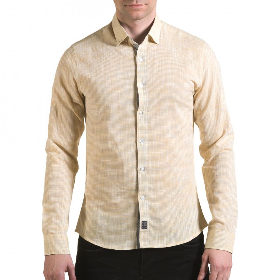 Мъжка жълта риза изчистен модел il170216-121