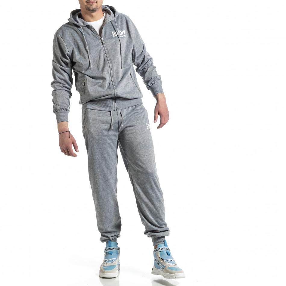 Мъжки светлосив спортен комплект Big Size it270221-55