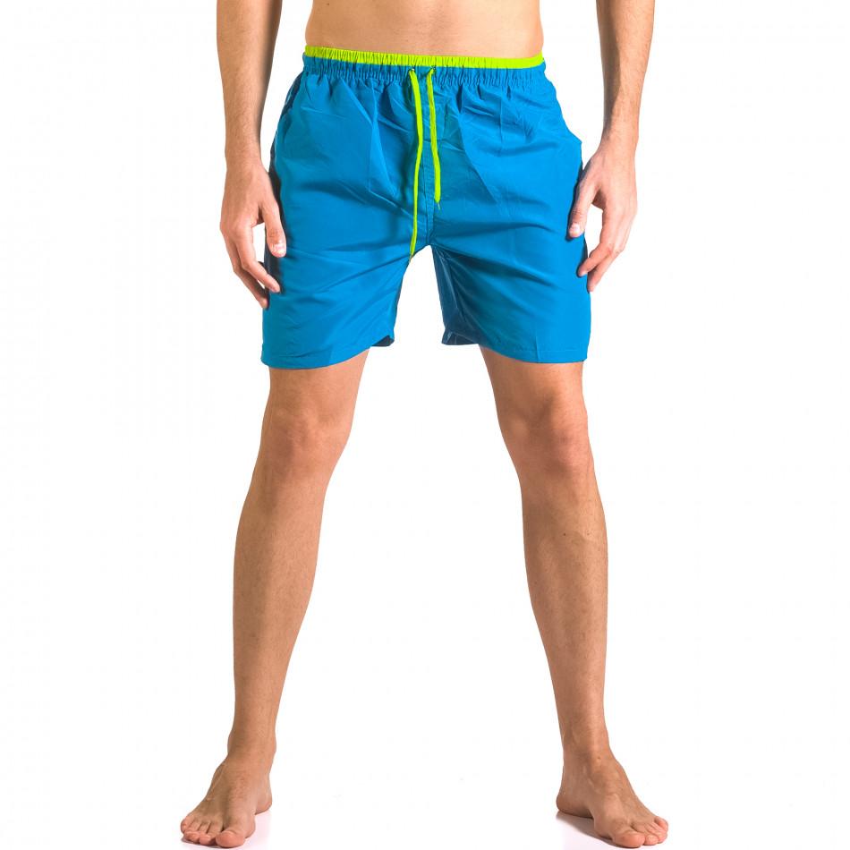 Мжки светло сини бански тип шорти с джобове отпред ca050416-24