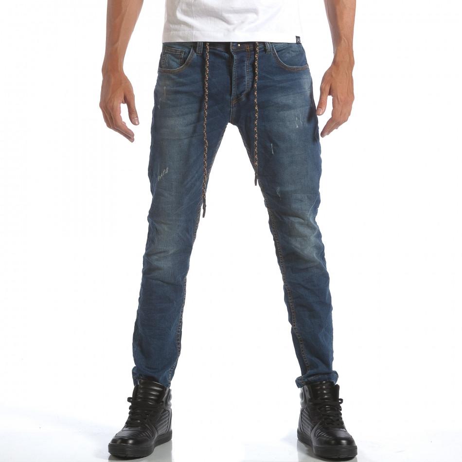 Мъжки дънки с връзки на кръста it160817-61