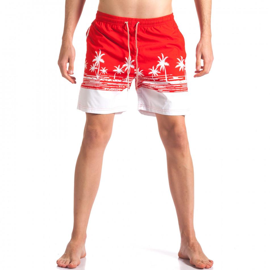 Мъжки червени бански с принт палми it250416-39
