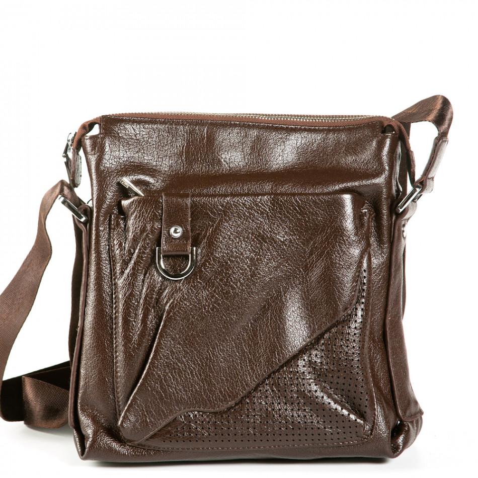 Чанта през рамо с голям външен джоб 9077-1-brown