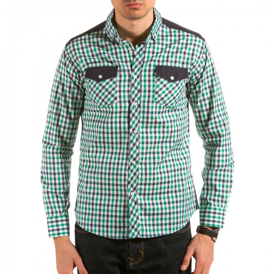 Мъжка зелено-синьо-бяла карирана риза il180215-181