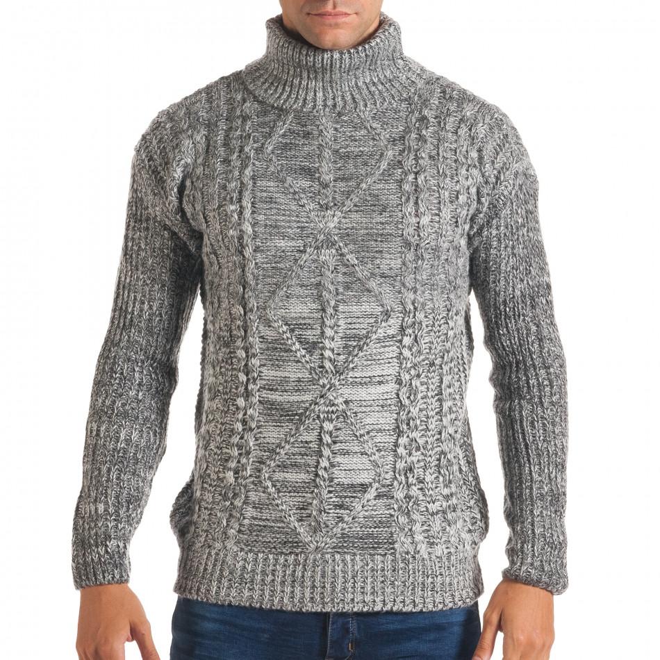 Мъжки сиво-бял зимен пуловер с поло яка it170816-24