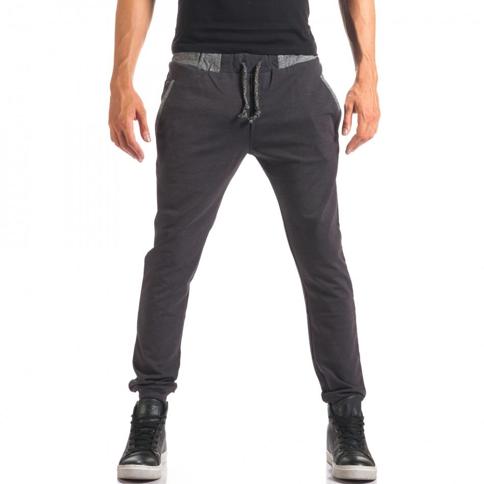 Мъжки синьо-сив спортен панталон с копчета it150816-21